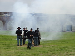 Smoke from cannon blast at Fort Pulaksi. A defensive fort build from 1829 but only attacked during the US Civil War when the North took control of it and the entrance to Savannah from the sea. (denisbin) Tags: smoke cannon meninuniform fortpulaski gunfire