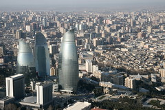Baku from above - including the 'flame-towers' (roomman) Tags: new old city house building tower art nature architecture modern skyscraper landscape design countryside fantastic country towers style baku azerbaijan flame azeri 2014 baki aserbaidschan bakü baky aseri flametower azerbaizan flametowers
