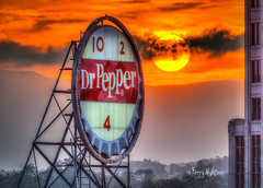 Dr. Pepper Time Sunset - Roanoke [Explore!] (Terry Aldhizer) Tags: city sunset sky sun mountains sign clouds pepper dr icon roanoke terry aldhizer terryaldhizercom wwwterryaldhizercom