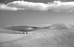 mounds of sand (gerhard.haindl) Tags: sky people blackandwhite bw monochrome clouds landscape geotagged mono sand noiretblanc outdoor dunes landschaft schwarzweis geo:lat=2774253033 geo:lon=1558573723 dscf3941v1