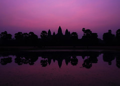 Angkor Wat Mangenta Dawn (Rob Kroenert) Tags: new morning red sun reflection sunrise temple dawn haze ancient asia cambodia khmer purple year magenta angkorwat before siem reap southeast hazy angkor wat 2016