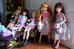 Watering flowers (cute-little-dolls) Tags: flowers friends toy miniature bucket doll teddybear petworks minidolls ruruko rurukodoll