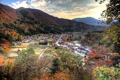 Ogimachi (Elios.k) Tags: horizontal outdoors nopeople view vista point viewpoint landscape village mountains hill shokawa river valley ryohaku sky clouds weather hdr highdynamicrange above trees foliage autumn leaves forest dense shiroyama observatory colour color travel travelling november 2015 vacation canon 5dmkii camera photography gasshzukuri gassho style farmhouse house architecture traditional japanese thatched straw roof unesco worldheritagesite ogimachi shirakawago shirakawagoarea shirakawag gifuprefecture onodistrict no chbu chubu honsu asia japan