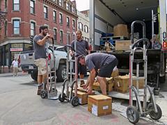 Boston3Men3Trucks (fotosqrrl) Tags: urban boston truck workers massachusetts streetphotography delivery boxes northend handtruck hanoverstreet