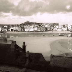 St. Ives harbour (Carolyn Saxby) Tags: blackandwhite beach sepia pier seaside soft cornwall rooftops harbour study incomingtide fishingboats stives tone chimneys sandbanks cottages chimneypots vintagefeel carolynsaxby