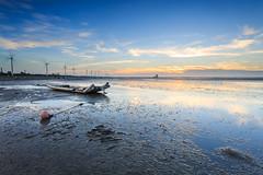 (samyaoo) Tags:       taiwan sunset beach coast changhua clouds     boat reflection sand   ripple silhouette      windmill wind power turbines wetland sea tide red