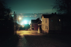 (patrickjoust) Tags: braddock pennsylvania street view steelmill house fujicagw690 kodakportra160 6x9 medium format 120 rangefinder 90mm f35 fujinon lens cable release tripod long exposure night after dark manual focus analog mechanical c41 color negative kodak film patrick joust patrickjoust pittsburgh allegheny county pa usa us united states north america estados unidos autaut home steep road hill steel mill factory plant