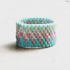 Anillo (Nata R.) Tags: pink square stitch turquoise rosa ring squareformat peyote miyuki lark anillo turquesa delicas annello iphoneography instagramapp