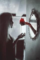Mirror (Megan Glc Photographe) Tags: light red portrait selfportrait girl strange fairytale dark mirror blood fantastic hand heart dream fairy mysterious horror sang tale