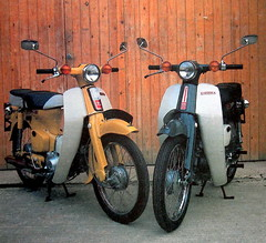 Honda C70  and  C90 (Lawrence Peregrine-Trousers) Tags: elephant yellow honda grey cub leo 4 stroke super motorbike step motorcycle through 1970s thru c70 c90 ffffffffff