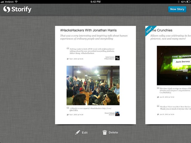 Storify for the iPad 1