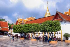 Wat Phra That Doi Suthep - The lookout terrace (Dragos Cosmin- Getty Images Artist) Tags: old travel sky sculpture holiday art floral beautiful beauty statue metal architecture asian thailand religious temple gold golden pagoda ancient asia day symbol outdoor buddha buddhist faith prayer religion pray culture peaceful buddhism tourist mai thai chiangmai wat northern chiang