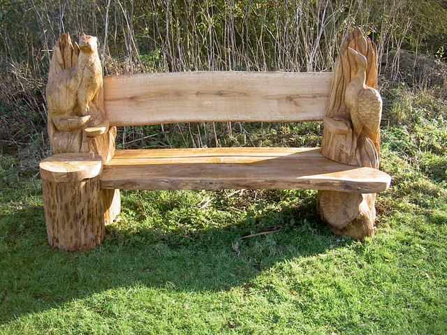 Artisan structures carved benches