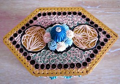 A Modern Teacaddy (yorkshirelass49) Tags: handmade handcrafted pegs filigree quilling scrolls teacaddy paperstrips decoratedbox