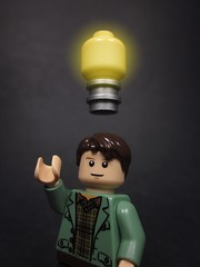 Eureka! (Walter Benson) Tags: light walter reflection lightbulb night creativity photography idea funny lego bright excited professional thinking walt ideas eureka classy thinkoutsidethebox walterboy