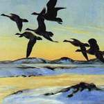 "<b>Lesser Canada Geese Over the Perry River</b><br/> Peter Scott (1909-1989) ""Lesser Canada Geese Over the Perry River"" Oil, 1949 LFAC #1994:05:02<a href=""http://farm8.static.flickr.com/7199/6852409055_6533ef0e9d_o.jpg"" title=""High res"">∝</a>"