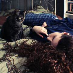 Day Seventy-Six (XeniaJoy) Tags: portrait cats selfportrait girl cat self hair square bed 365 curlyhair pajamas brownhair caturday 365days naturallycurlyhair