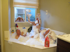 Three Men In A Tub (gaymay) Tags: california flowers gay clock reading penguin glasses bath desert bears bubbles coachellavalley tub suds
