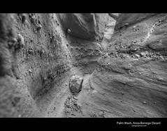 Box canyon (esslingerphoto.com (London)) Tags: california park sea bw usa white black mountains rock sandstone mine desert state south fork canyon hike palm wash borrego badlands sedimentary slotcanyon calcite gully anza salton
