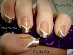 Simples e elegante (NailArtNat) Tags: art branco glitter nail dourado brilho unha francesinha artística decorada