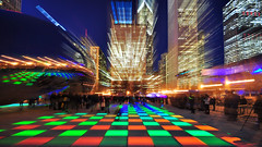 Thursday Night Fever at The Bean... (Seth Oliver Photographic Art) Tags: nightphotography chicago reflection art colors buildings illinois nikon midwest nightlights skyscrapers iso400 cities skylines milleniumpark theloop thebean pinoy chicagoskyline secondcity lightstreaks windycity longexposures chicagoist d90 cloudgatesculpture nightexposures 13secondexposure cityofbigshoulders attplaza aperturef35 setholiver1 circularpolarizers tripodmountedshot remotetriggeredshot 1024mmtamronuwalens zoomoutshot croppedto16x9format luftwerk luminousfield