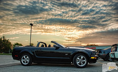Mustang Sunset (Chad Horwedel) Tags: black ford car illinois convertible mustang fordmustang downersgrove cozzicorner