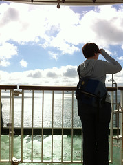 Liz on the ferry