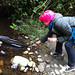 Erin feeding the eels