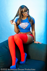 Victoria (SomeSayImModest) Tags: blue red portrait woman cute sexy beauty panties comics fun happy photography dc high model glamour nikon women natural dream makeup victoria superman thigh supergirl playful pinup thick boyshorts 2012 d90 insomniacs