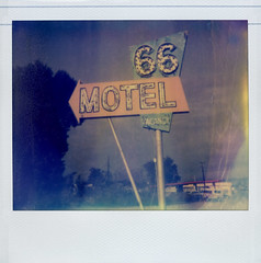 66 Motel (Nick Leonard) Tags: california old morning blue sky orange green classic film clouds analog vintage polaroid route66 colorful neon nick lightbulbs motel roadtrip scan retro bulbs neonsign arrow polaroidspectra needles vacancy timeless underexposed motelsign instantfilm epson4490 polaroidspectraaf spectrafilm colorshade 66motel integralfilm nickleonard type1200 theimpossibleproject pz680 believeinfilm
