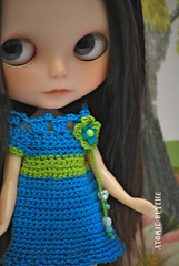 Deep Seas Crochet Dress for Blythe (Atomic Blythe) Tags: alpaca thread fashion dress handmade crochet blythe atomicblythe moofalacustom