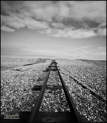 Tracks. (BarryAdams Images) Tags: beach clouds photoshop canon blackwhite tracks sigma adobe dungeness february process 1020mm 2012 greyscale lightroom