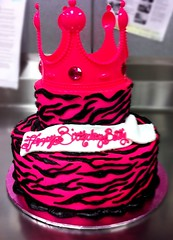 Zebra Print Birthday Cake (Let Them Eat Cake Bakery) Tags: birthday black cake birthdaycake zebra striped hotpink buttercream letthemeatcake zebrastripes