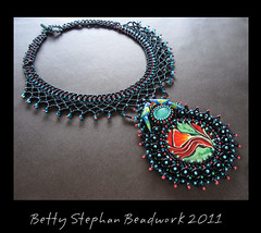 necklace with polymer cabochon (betty.stephan) Tags: jewelry beading beadwork infocus highquality beadednecklace beadweaving beadembroidery beadedjewelry cabochons polymerclayjewelry bettystephan