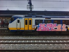 Train graffiti (010fuss) Tags: art netherlands dutch station train graffiti pieces ns kunst nederland style trains vandalism piece bombing burners vandalisme