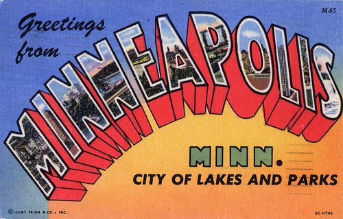 Greetings from Minnesapolis, Minnesota, City of Lakes and Parks - Large Letter Postcard