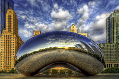 """Cloud""y Sunrise (rseidel3) Tags: park city cloud chicago reflection art architecture clouds photoshop sunrise buildings illinois nikon skies bean millenniumpark cloudgate hdr lightroom photomatix d7000"