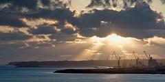 coucher de soleil sur Brest (Brestitude) Tags: city sunset sea sun mer clouds soleil town brittany bretagne cranes brest rays nuages ville coucherdesoleil rayons finistère rade grues d7000 brestitude