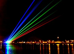 Global Rainbow over Preston (11) (Tony Worrall) Tags: light sky urban art sports public beauty night marina fun outside evening march nice rainbow artist colours shine spectrum northwest dusk north twinkle lancashire projection seven laser preston lit olympic launch quirky lazer slits prestondocks yvettemattern globalrainbow asntononribble ©2012tonyworrall weplaychallenge globalrainbowuk