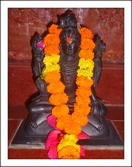 Vishnu (Sanskrit  Viu) (Ginas Pics) Tags: flowers orange religious temple vishnu god religion blumen holy idol sacred spiritual hinduism heilig gott shivatemple beten gottheit glauben hermesorange viu  sacredheiliggott