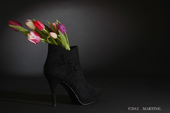 Spring in my black boot ! (.MARTINE.) Tags: black spring highheels colours tulips flash lente zwart external martine tulpen flits kleuren snoot extern strobist hogehakken canoneos40d canonspeedlite580exii flickrgolfclub laarsje clanflickr
