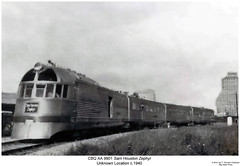 "CBQ AA 9901 ""Sam Houston Zephyr"" (Robert W. Thomson) Tags: railroad train diesel railway trains zephyr locomotive aa streamliner burlingtonroute burlinton passengertrain emd cbq chicagoburlingtonandquincy samhoustonzephyr"