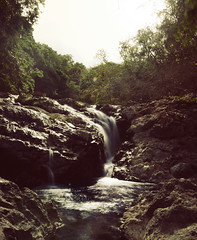 Small Waterfall, Monteverde - Costa Rica (SRHart (84)) Tags: longexposure blue light shadow summer brown white black hot reflection green water stone contrast forest vintage river flow waterfall movement rainforest costarica rocks flickr retro cascada strongcontrast lightpattern flickraward flickrawardgallery 1024mmtamaron