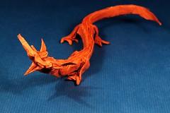 Rising Dragon 1.2 (Satoshi Kamiya) (Michael Groß) Tags: paper photography rising michael origami dragon background mc gross cp paperfolding unryu kraft satoshi kamiya