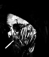Hidden in nature (adam_moralee) Tags: shadow two portrait bw sun white selfportrait man black male adam sunglasses self dark glasses blackwhite hoodie darkness cigarette wb images smoking hoody finepix blended fujifilm effect blend selfy selfie twoimages selfi portrait365 s1500 moralee adammoralee blendeffect