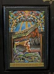 Ragnarok Scene at Bamburgh Castle (Thorskegga) Tags: wood bridge england castle hammer wooden carved rainbow god crafts arts carving northumberland ragnarok serpent thor viking bamburgh mythology thunder myth midgard bifrost norse jormungand