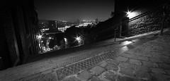 Liege - Montagne de bueren (olivier.breuer) Tags: city blackandwhite bw panorama cit liege nuit ville meuse administrative bueren