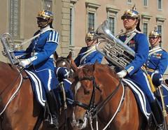 Military musicians on horseback (bokage) Tags: musician horse soldier uniform sweden stockholm riding gamlastan oldtown rid changeofguard bokage