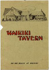 Waikiki Tavern menu (jericl cat) Tags: trees fish illustration vintage paper menu design underwater exterior waikiki keoni palm ephemera cocktail list tavern tropical honolulu