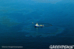 Surrounded by Shell Oil (Greenpeace USA 2016) Tags: ocean usa gulfofmexico louisiana ship gulf shell greenpeace aerial oil drilling skimming fossilfuel breakfree cleanenergy portfourchon